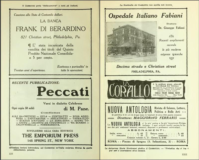 Pubblicità sul numero di Gennaio 1918 de Il Carroccio