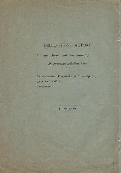 Quarta di copertina di Trilogia