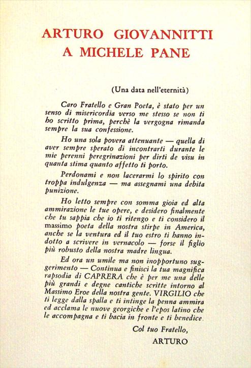 Lettera di Giovannitti a Michele Pane