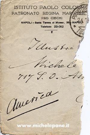 Frammento di lettera da Colosimo a Michele Pane