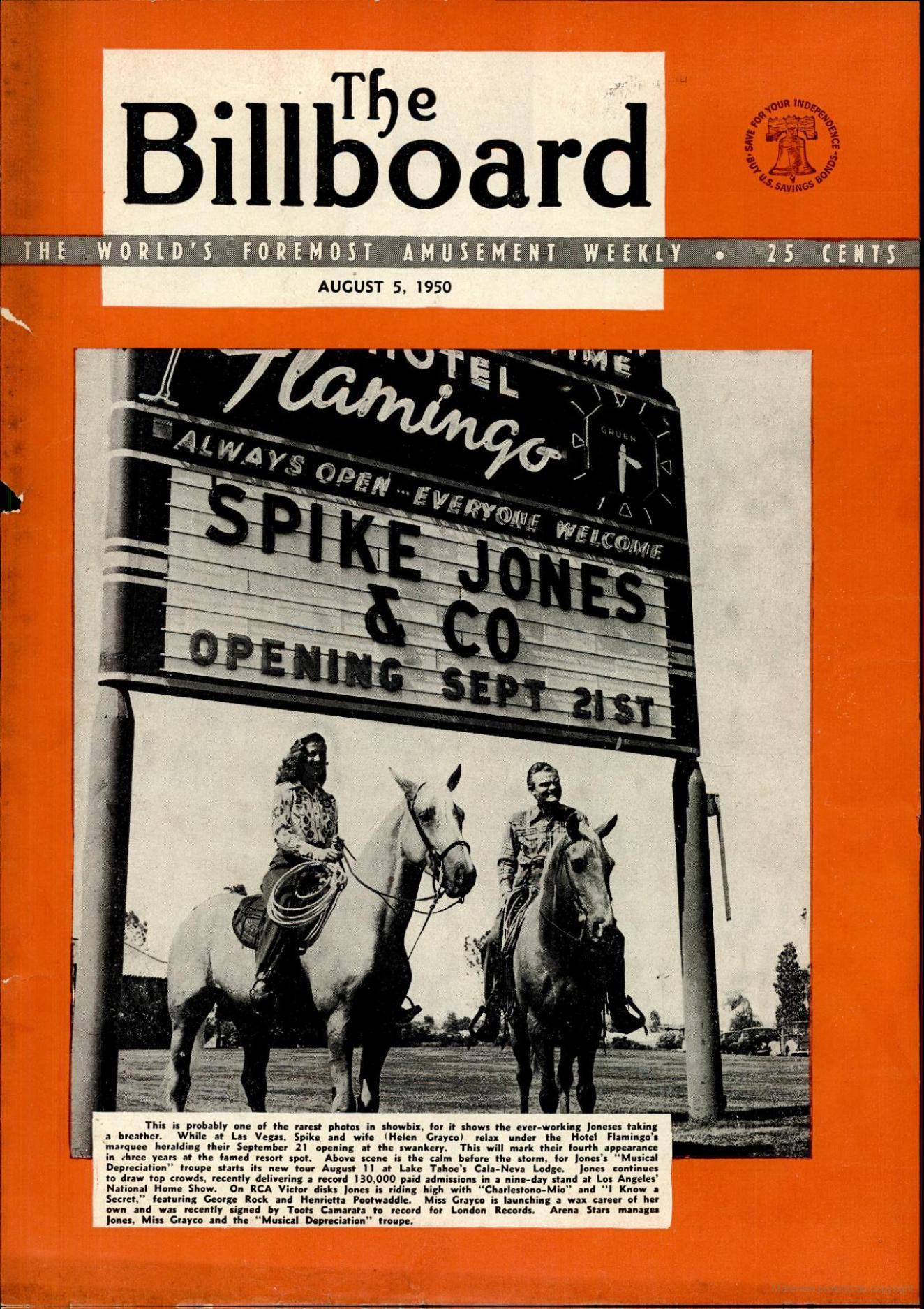 Copertina di Billboard 5 agosto 1950