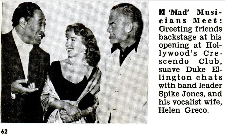 """Helen, Spike e Duke Ellington, dalla rivista """"Jet"""", 1954"""