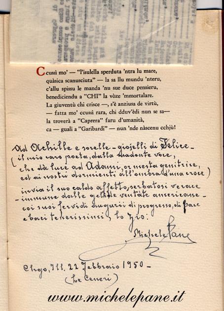 Dedica di Michele Pane su una copia di Garibaldina alla famiglia Costanzo