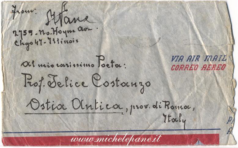 Lettera dell'aprile 1953 di Michele Pane a Felice Costanzo