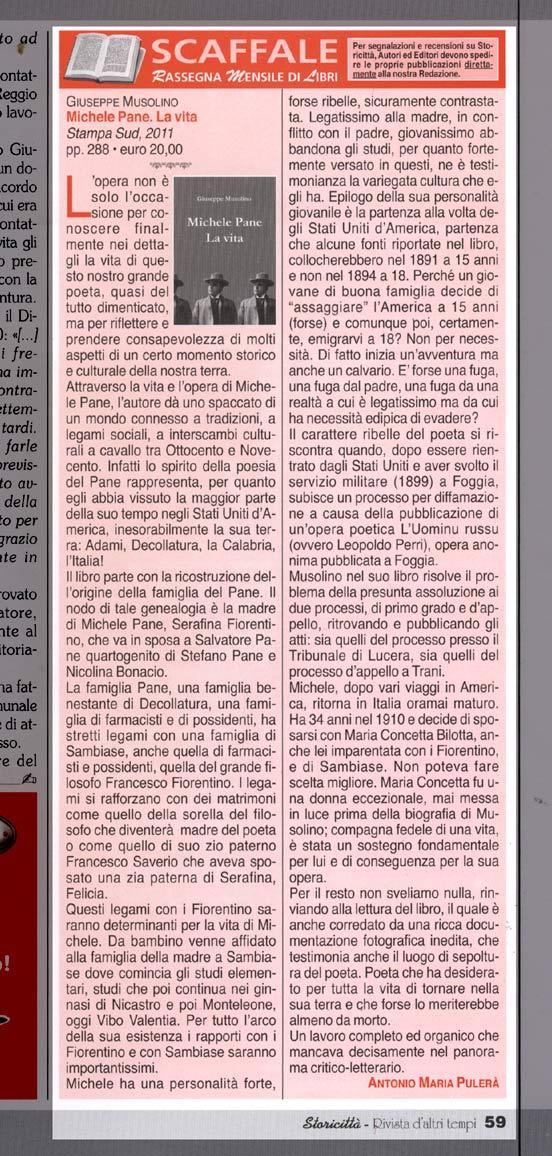 Recensione di Antonio Maria Pulerà su Storicittà n. 199