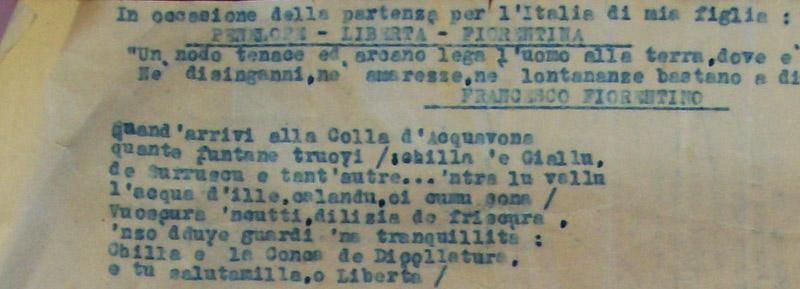 """Dattiloscritto originale di """"In occasione della partenza per l'Italia di mia figlia Penelope -Libertà - Fiorentina"""" di M. Pane"""