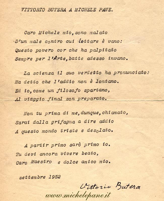 Vittorio Butera a Michele Pane, 1952